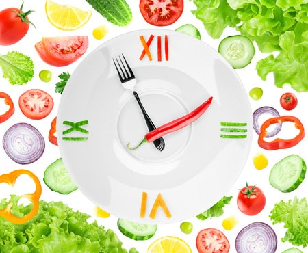 40823104 - food clock with vegetables. healthy food concept