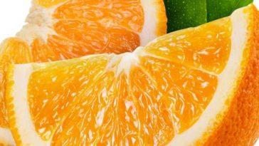 44236395 - orange fruit slice isolated on white background