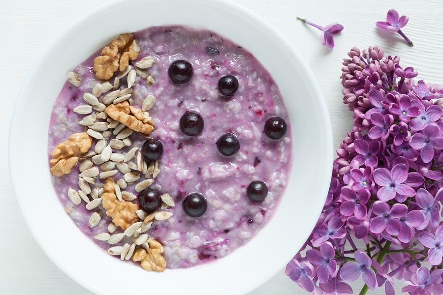 Healthy vegetarian diet meal. Clean eating oatmeal porridge with