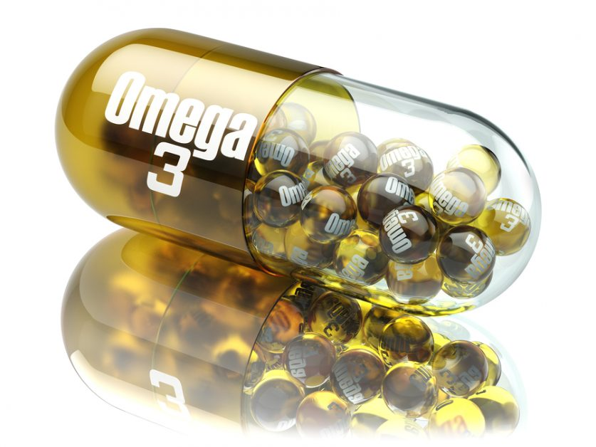 Pill with Omega 3 element. Dietary supplements. Vitamin capsule