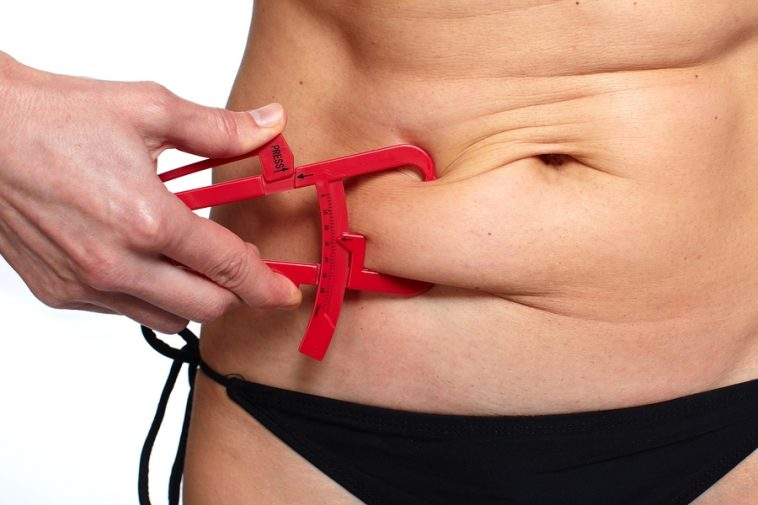 Woman measuring fat belly. Overweight and weight loss concept.