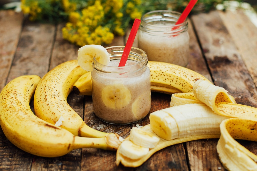 Fruit Smoothies. Banana Smoothies With Milk. Banana Smoothie On