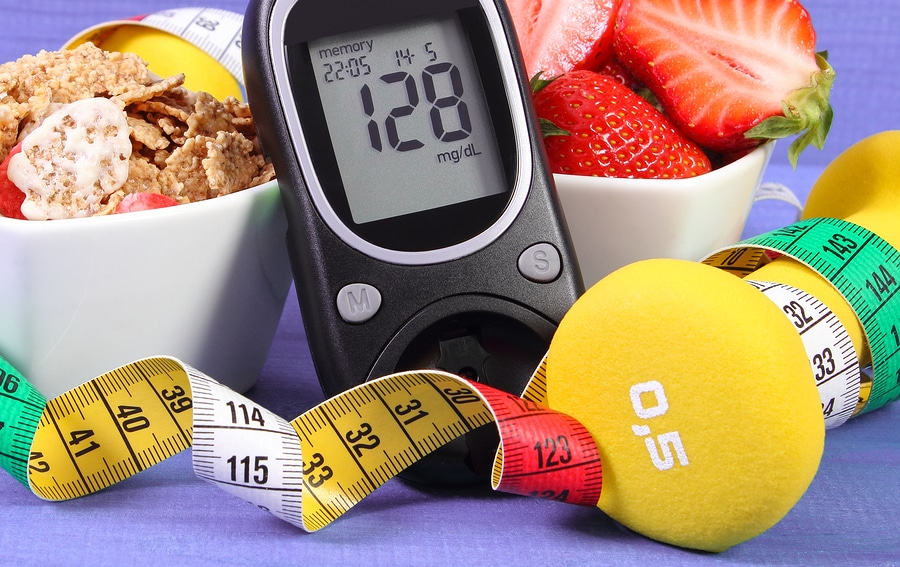 Glucometer With Sugar Level, Healthy Food, Dumbbells And Centime